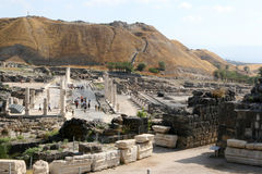 Bet Shean National Park, Israel. Tourists walk the ancient streets of Bet Shean National Park in Israel Stock Images