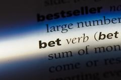 Bet. Word in a dictionary.  concept Stock Image