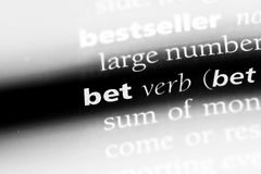 Bet. Word in a dictionary.  concept Stock Photography