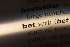 Bet. Word in a dictionary.  concept Royalty Free Stock Images