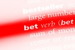 Bet. Word in a dictionary.  concept Royalty Free Stock Photos