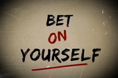 Bet on yourself concept Stock Photography