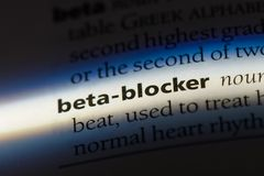 Beta-blocker. Word in a dictionary.  concept royalty free stock photos