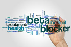 Beta blocker word cloud concept on grey background.  stock photos