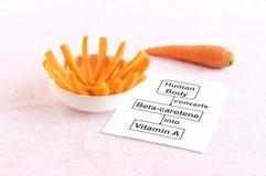 Beta-carotene al concetto della vitamina A Fotografie Stock