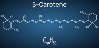 Beta Carotene, provitamina A, è un pigmento rosso-arancio organico in piante ed in frutti Modello strutturale della molecola e di Fotografia Stock