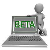 Beta Character Laptop Shows Trial Software Or Development On Int Stock Images