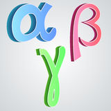 Beta gama alfa, alfabeto grego Imagens de Stock