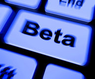 Beta Keyboard Shows Development Or Demo Version Immagini Stock Libere da Diritti
