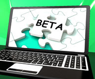 Beta Laptop Shows Online Demo Internet Software Or Development Royalty Free Stock Photography