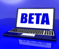 Beta On Laptop Shows Trial Software Royalty Free Stock Photos