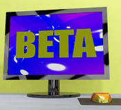 Beta On Monitor Shows Testing Software Royalty Free Stock Images