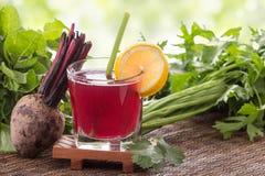 Beta och grönsakblandningfruktsaft royaltyfria foton