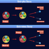 Beta-plus Decay and Beta-minus Decay Royalty Free Stock Photos