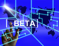 Beta Screen Refers ad una prova internazionale o Demo Version Immagine Stock