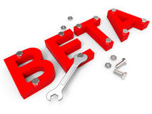 Beta Software Indicates Program Programming und Download Stockfotos