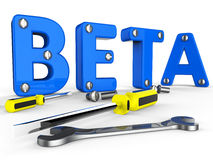Beta Software Represents Trial Develop And Application. Beta Software Indicating Versions Program And Application Stock Images