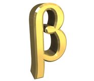 Beta symbol in gold (3d) Royalty Free Stock Photos
