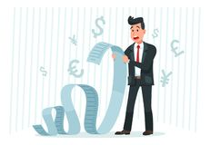 Betaal grote rekening De lange rekening van de zakenmanholding, die door betalingsbedrag wordt geschokt en het betalen van het be royalty-vrije illustratie