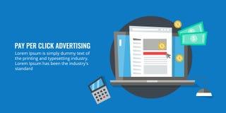 Betaal per klik adverterend, ppc beheer, betaald het concept van het reclamebeeldverhaal Stock Afbeeldingen
