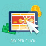 Betaal per klikillustratie met bedrijfstablet Royalty-vrije Stock Afbeeldingen