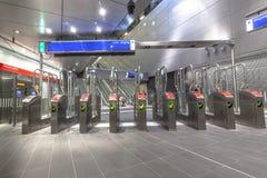 Betaal poorten bij metro lijn Amsterdam Royalty-vrije Stock Foto