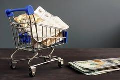 Betaalbare gezondheidszorg en verzekering Geneesmiddelen in het boodschappenwagentje stock afbeelding