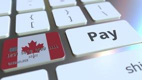 Betaalpas die vlag van Canada kenmerken als sleutel op een computertoetsenbord Het Canadese online betaling conceptuele 3D terugg royalty-vrije illustratie