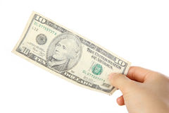 Betala en U S 10 dollar räkning Arkivfoton