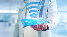 Betala med contactless kreditkortbegrepp - 3d framför Arkivfoton
