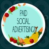 Betald social annonsering för ordhandstiltext Affärsidéen för yttre marknadsföra försök gäller betald en dragen placeringshand stock illustrationer