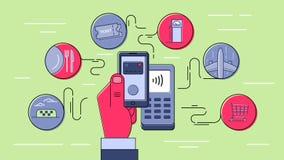 Betaling die zonder contact mobiele telefoon met behulp van Stock Foto's