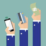 Betaling door contant geld, creditcard en smartphonemethode Stock Afbeelding