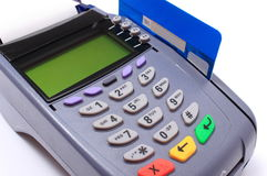 Betalingsterminal met creditcard op witte achtergrond Stock Afbeelding