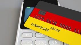 Betalning eller pos.-terminal med kreditkorten som presenterar flaggan av Tyskland Kommers eller banksystem för tysk begreppsmäss Royaltyfria Foton