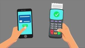 Betalning från den smarta telefonen arkivfilmer
