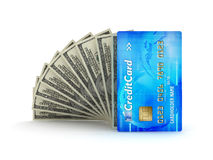 Betalningar - dollarbills och kreditkort Arkivfoto