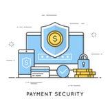 Betalningsäkerhet, data och transaktionsskydd Plan linje ar stock illustrationer