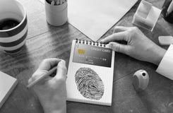 Betalningsäkerhetsbegrepp på en notepad arkivfoto