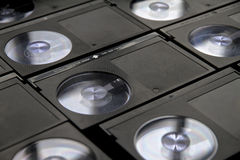 Betamax VCR tape cassettes. From the 1970s and 80s a collection of old Betamax video tapes used to record off-air tv programmes Royalty Free Stock Photos
