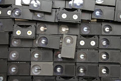 Betamax VCR tape cassettes. From the 1970s and 80s a collection of old Betamax video tapes used to record off-air tv programmes royalty free stock image