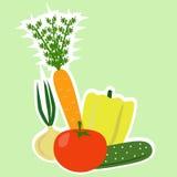 betamorotaubergine fem isolerade set vita tomatgrönsaker för potatisen Arkivfoto