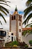Betancuria church tower, Fuerteventura. Betancuria church tower framed in palm-trees, Fuerteventura Stock Photography