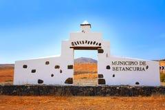 Betancuria welcome monument sign Fuerteventura Stock Photography
