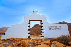 Betancuria welcome monument sign Fuerteventura Stock Image