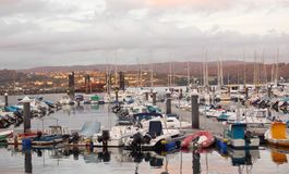 Betanzo市小捕鱼港口加利西亚西班牙 库存图片