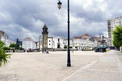 Betanzos Galicia, Spanien Juli 30, 2017: Huvudsaklig fyrkant av staden Royaltyfri Fotografi