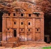 Bete Abba Libanos vagga-huggen ut kyrka, Lalibela Etiopien Arkivbild