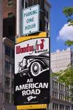 Beteckning av den Woodward avenyn i Detroit Royaltyfri Fotografi