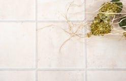 Betegelde vloer met bloemen Stock Fotografie